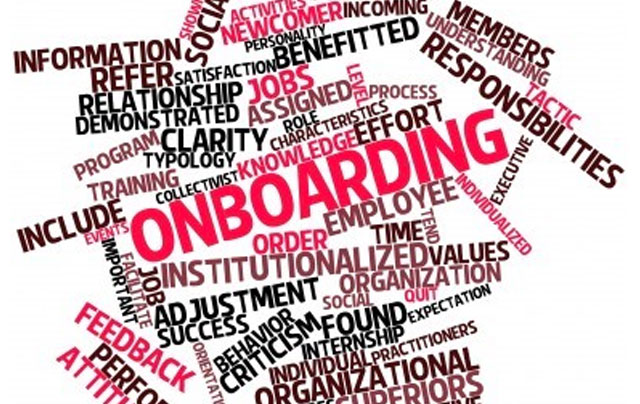 jumble of words related to on-boarding new employees